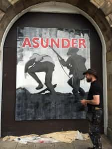 Asunder mural in progress