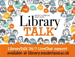 Library Talk (pictures of lots of heads with chat boxes)