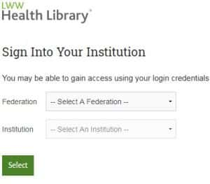 LWW Health Library log on image