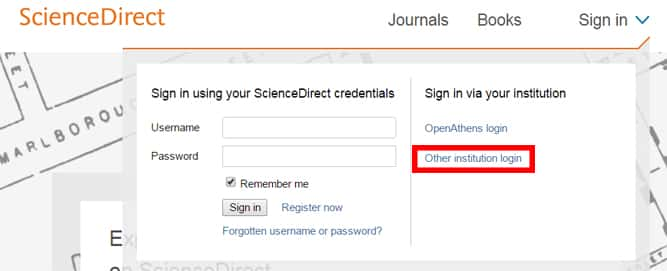 image: Science Direct Database login