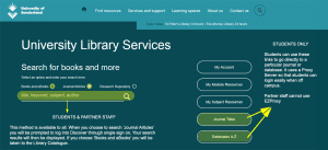 Image: screenshot of library web page