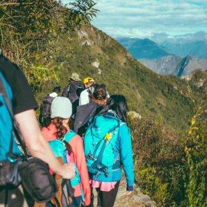 Photograph: Hikers climbing a mountain