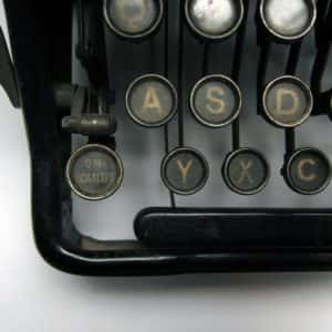 Close-up image of a 20th century Urania typewriter