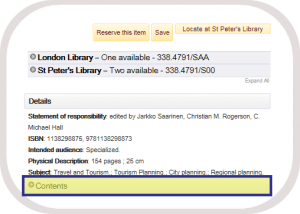 screenshot - Contents on Catalogue