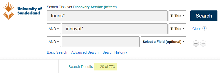 Search screenshot - tourism and innovation