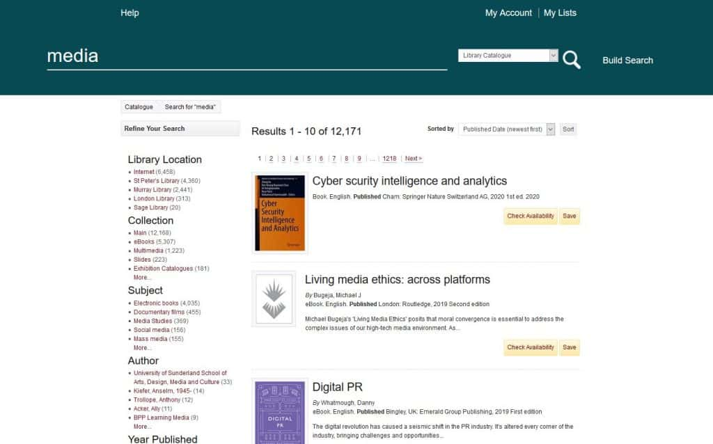 University of Sunderland Library book catalogue search results