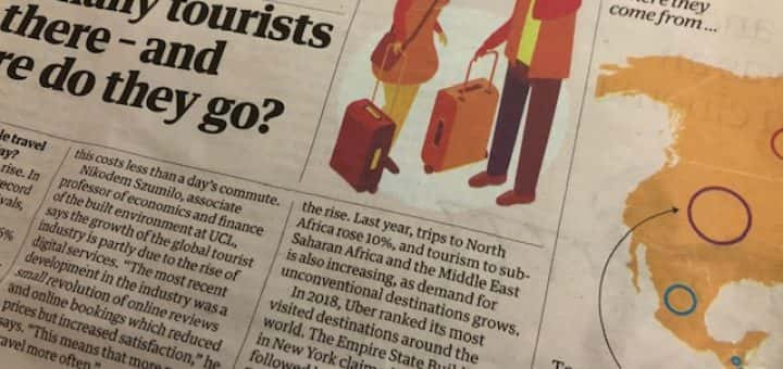 Photo of a tourism article in the guardian newspaper