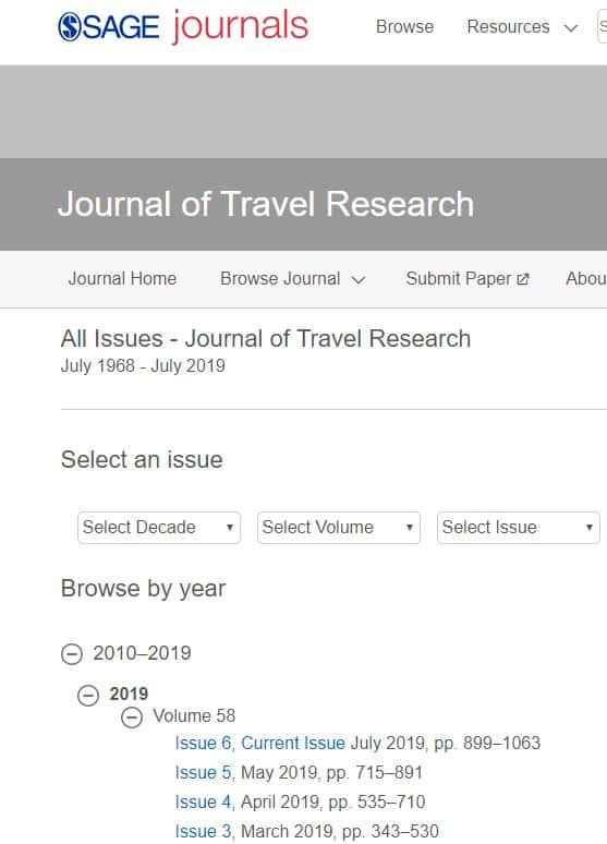 screenshot of Journal of travel research