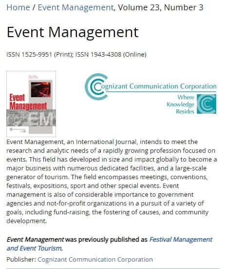 screenshot of event management journal