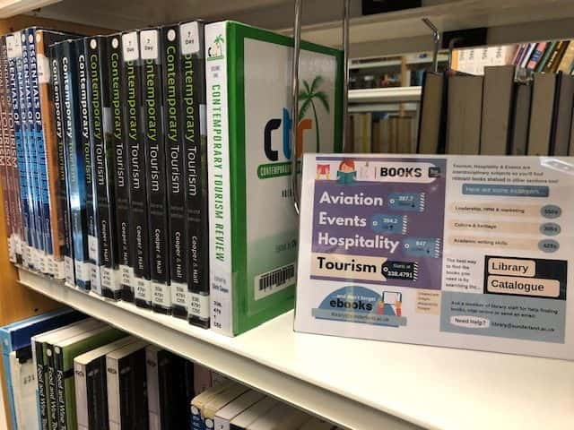 Photograph of Tourism shelves at St. Peter's Library