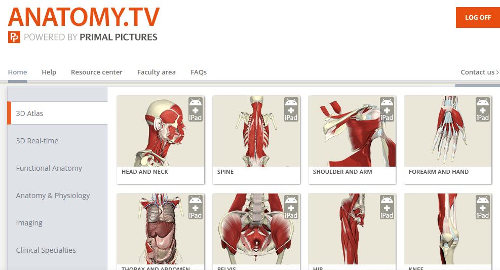 screenshot of homepage of anatomy tv