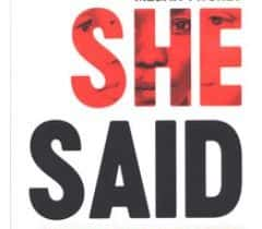 Book cover to 'She Said' by Twohey and Kantor