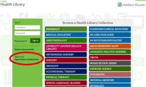 Image of LWW Health Library website