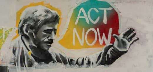 artwork of man saying 'act now'