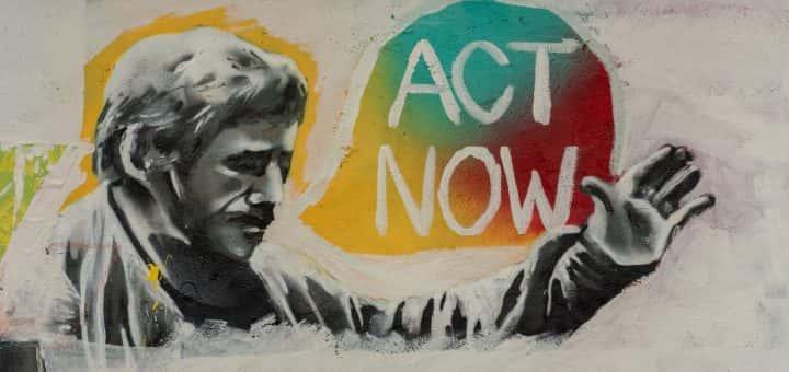artwork of man saying 'act now'