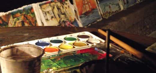 multicoloured painting palette