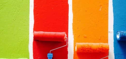 Coloured paint and rollers