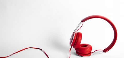 red padded headphones