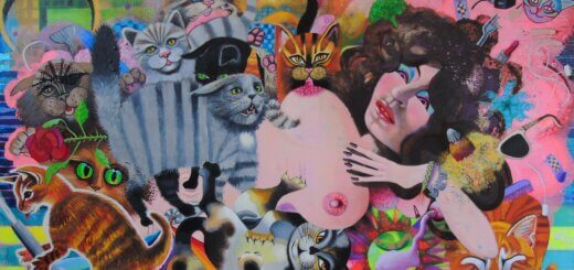 Rosalind Faram_Startled by Cats _oil, acrylic, metal foil,glitter, polystyrene on canvas 162 x 100 cms 2020