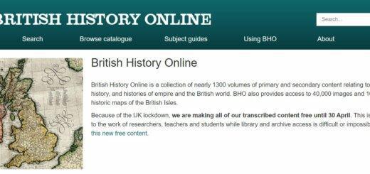 screenshot of British History Online homepage