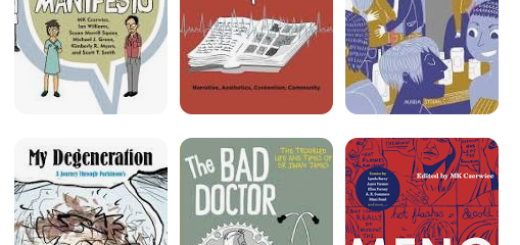 Some titles of graphics novels including: Graphic Medicine Manifesto, The Bad Doctor and Menopause: A Comic Treatment