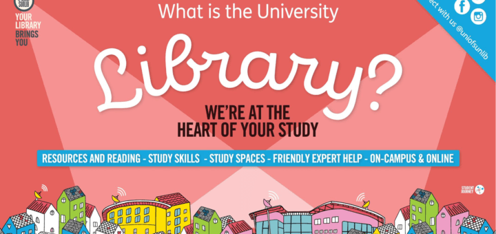 cartoon drawing of buildings with text 'What is the University Library? We're at the heart of your study'