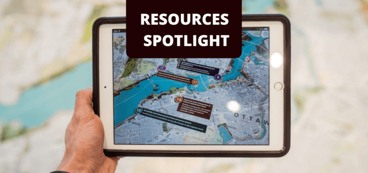 ipad displaying a map with text 'Resources Spotlight HEAT'