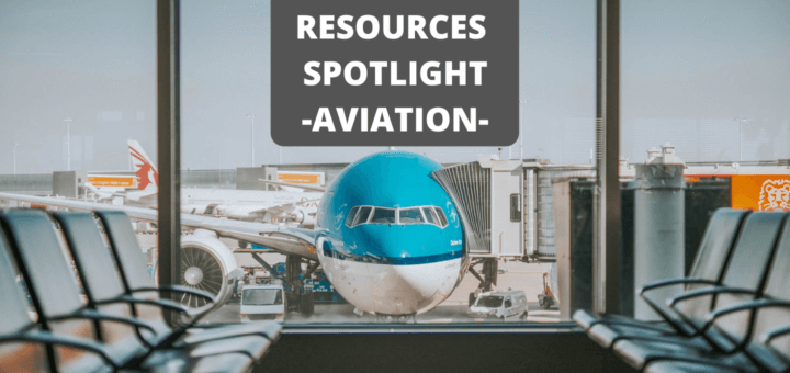 airplane in front of airport lounge with text 'resources spotlight aviation'