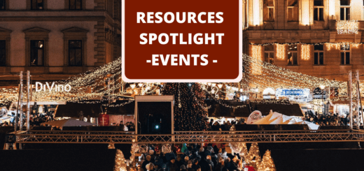 Budapest Christmas market at night with text 'Events Resources Spotlight'